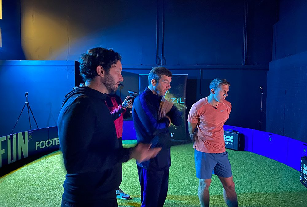 Stephen Warnock tests his skills in the Fun1stFootball Arena